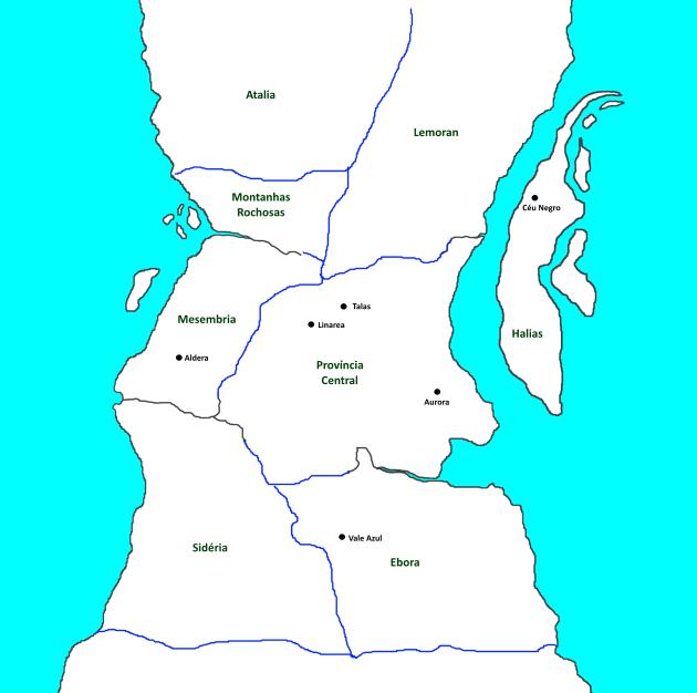 Mapa - Continente, províncias e cidades